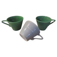 Homer Laughlin Harlequin Green and Gray Cups - b236