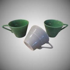 Homer Laughlin Harlequin Green and Gray Cups - b236
