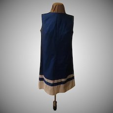 Royal Blue with White at the Hem Shift Dress