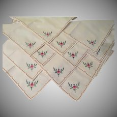 Pink Embroidered Flower Napkins - b237