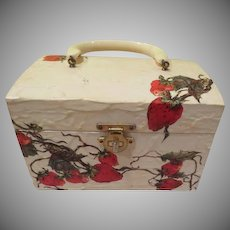 Ripe Strawberry Decoupaged Box Purse - b241