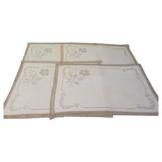 Embroidered and Lace Trim Placemats - b237