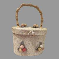 Bel-Air Raffia Crocheted Flower Handbag/purse - b241