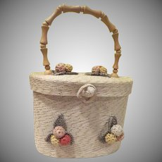 Bel-Air Raffia Crocheted Flower Handbag/purse - b241