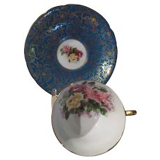 Paragon English Bone China Aqua/gold and roses - b238