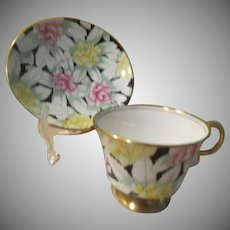 Adderley Roses on Black English Bone China Cup and Saucer - b238