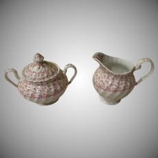 Johnson Bros Rose Bouquet Creamer and Sugar - b242