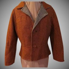 Rust Tweed Reverses to Black and White Tweed Jacket