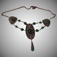Green Double Strand Filigree Necklace - Free shipping