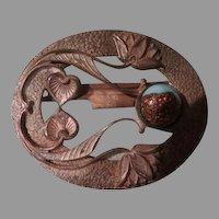Water Lilies Art Nouveau Belt Buckle - Free shipping
