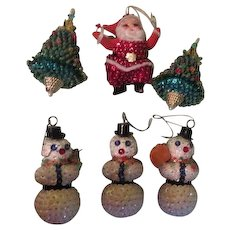 Sequined Santa, Christmas trees and Snowmen Ornaments - b263