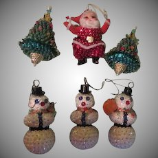 Sequined Santa, Christmas trees and Snowmen Ornaments - b263