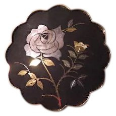 Rose against Black Japanese Aminta Damascene Pin - Free shipping