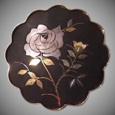 Rose against Black Japanese Aminta Damascene Pin - Free shipping