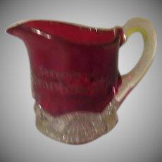 Souvenir of Scranton Pa. Ruby Flashed Creamer - b245