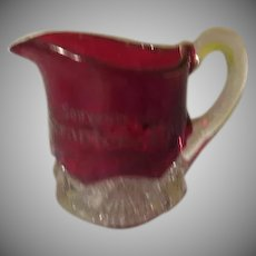 Souvenir of Scranton Pa. Ruby Flashed Creamer - b245
