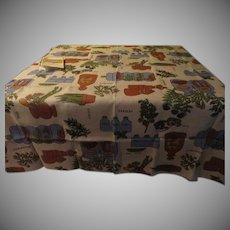 California Hand Prints Green Spices Belgium Linen Tablecloth - CL2