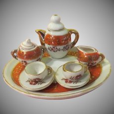 Orange trimmed Tiny Doll House tea Set - b256