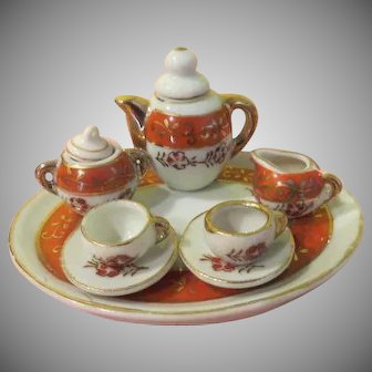 Orange trimmed Tiny Doll House tea Set - b256