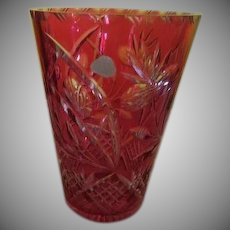 Ruby Cut to Crystal Lead Crystal Vase - b240