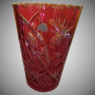Ruby Cut to Crystal Lead Crystal Vase - b240