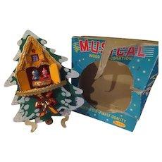 Yuletide Wood Musical Decoration Music Box Plays Jingle Bells - b242