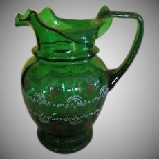 Ruffled Spout Blown Glass Pitcher - b240