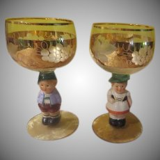 Hummel Girl and Boy On Glass Stems - b243