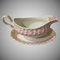 Johnson Bros Rose Bouquet Gravu Boat and Liner - b242
