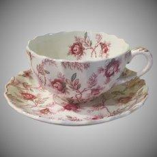 Spode Copeland Rosebud Chintz Pink Vine Tea Cup and saucer - b241