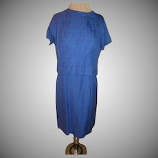 Royal Blue Linen 2 Piece Dress