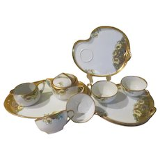 R. S. Germant Reinhold Schlegelmilch Lunchoen set with Creamer and Covered Sugar on Tray - b241