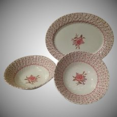 Johnson Bros Rose Bouquet Platter and Veggie Bowls - b242
