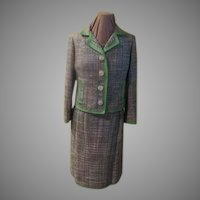 Outlined in Green Tweed 3 piece Suit