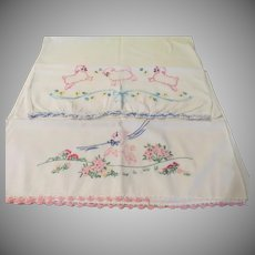 Little Lamb Embroidered Pillow Cases - b248