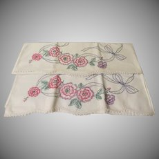 Flowers Abloom Embroidered Pillow Cases - b245