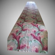 Colorful Fern on Gray Background Barkcloth Fabric - BC1