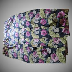 Pink Hibiscus on Black Background Bark Cloth Drapes - bc1