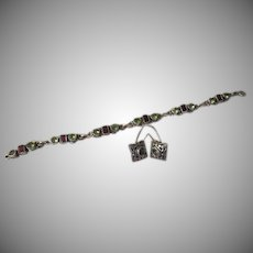 Peridot and Garnet Silver Bracelet and J-hook Earrings - Free shipping