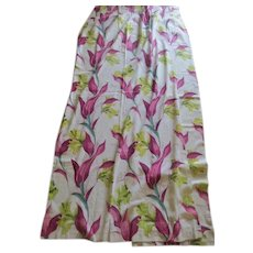 Burgundy and Pink Leaves Bark Cloth Pinch Pleat Drapes -Bc1