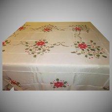 Open Work Poinsettia Tablecloth - b249