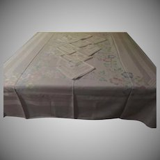 Watercolor Flowers Damask Tablecloth and Napkins - b254