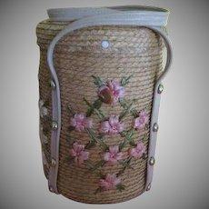 Raffia Flowers on Straw Bucket Purse/handbag