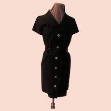 Black Patent Belt Coat Dress