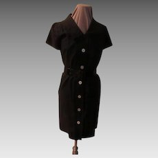Black Patent Belt Coat Dress