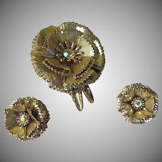 Ruffled Edge Flower Pin and Clip-on Earrings - Free shipping