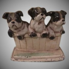 Trio of Black and White Puppies Cast Metal John Wright Doorstop - b262