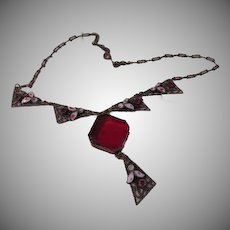 Red Stone and Enamel Necklace - Free shipping
