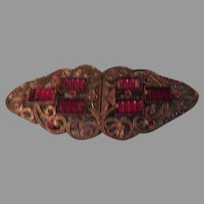 Filigree Buckle with Red Stone - Free shipping