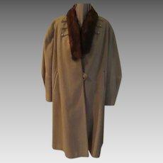 Tapered Cuff Fur Collar Coat